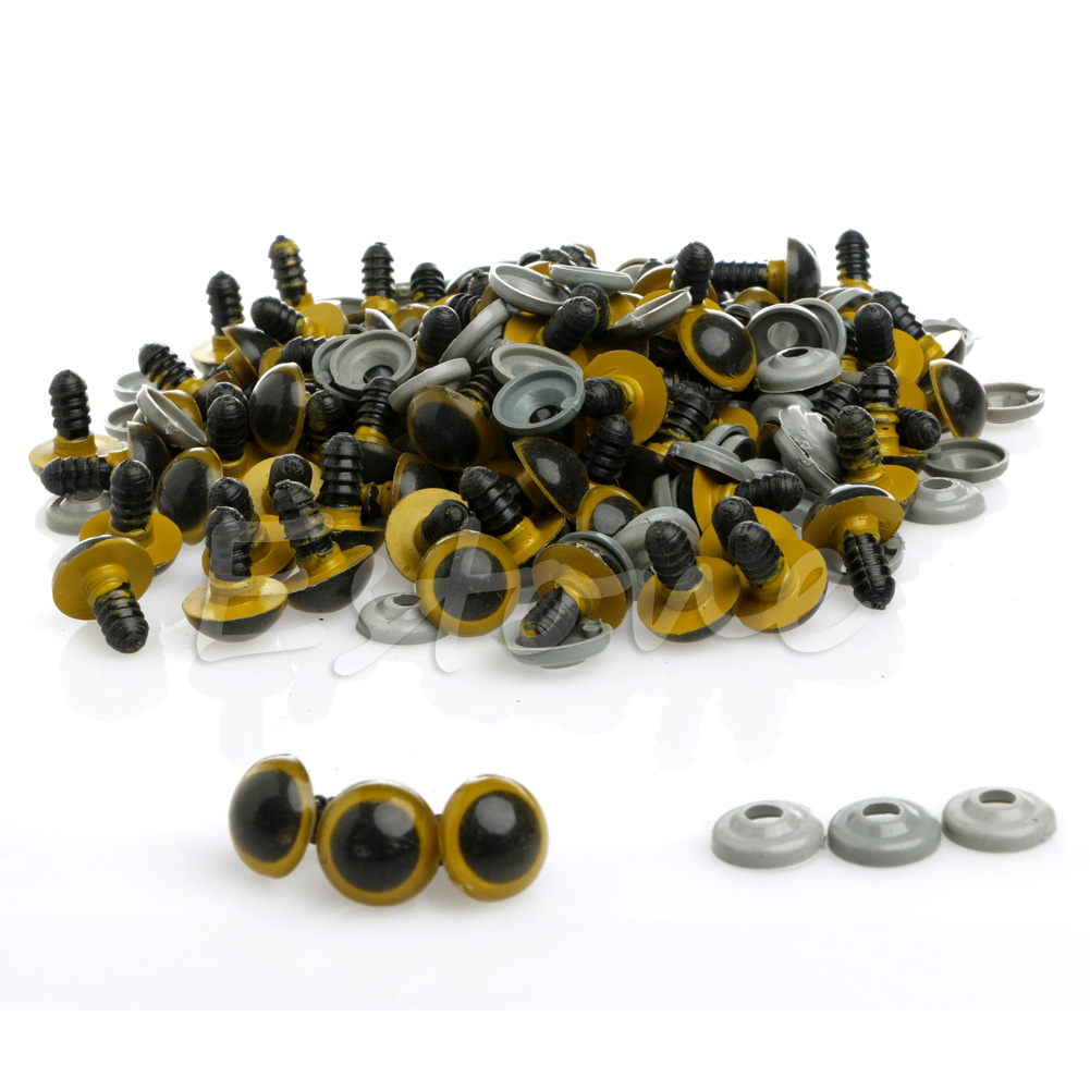 100Pcs Set 14mm Plastic Safety Eyes For Teddy Bear Doll Animal Puppet Craft in Dolls Accessories from Toys Hobbies