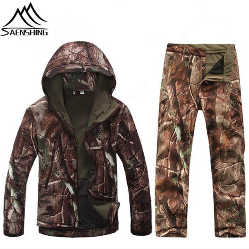 где купить Saenshing Hunting Clothes Men Winter Hunting Jacket + Pants Waterproof Thermal Winter Hiking Outdoor Sports Wear Male Hunt Suits по лучшей цене