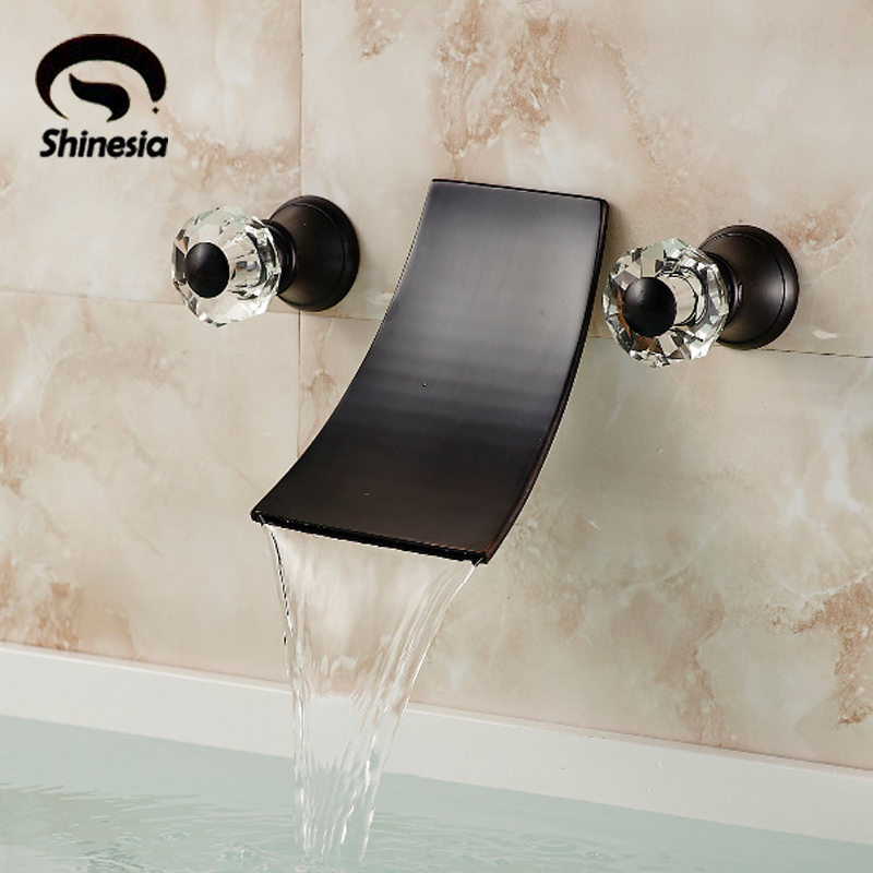 Black Finish Waterfall Widespread Contemporary Bathtub Faucet Wall Mounted Tap free shipping polished chrome finish new wall mounted waterfall bathroom bathtub handheld shower tap mixer faucet yt 5333