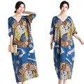 Long summer dress mujeres de gran tamaño maxi dress impresión indio largas túnicas v-cuello recto vestidos de lino flojo ocasional vestidos maxis