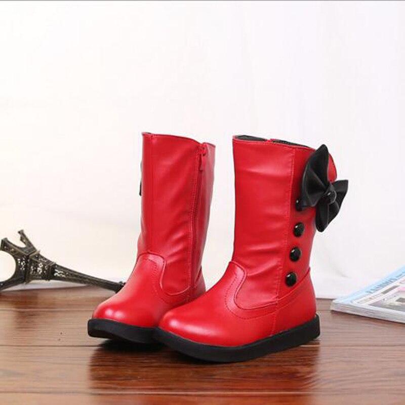 US $20.13 45% OFF|Mädchen leder mid cal stiefel Chaussure Enfant kinder stiefel mädchen jungen winter schuhe kinder regen stiefel Pu leder für 5 15