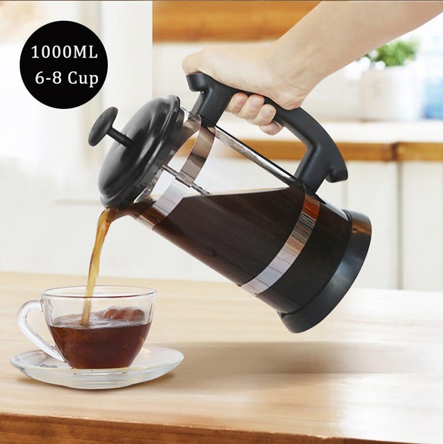 الفرنسية الصحافة القهوة/الشاي بروير القهوة صانع كنكة القهوة غلاية 1000 مللي الفولاذ المقاوم للصدأ الزجاج الترمس للقهوة درينكوير