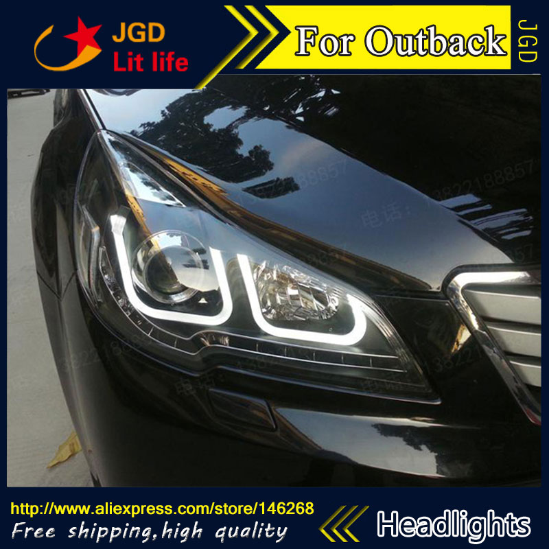 Free shipping ! Car styling LED HID Rio LED headlights Head Lamp case for Outback 2010-2012 Bi-Xenon Lens low beam