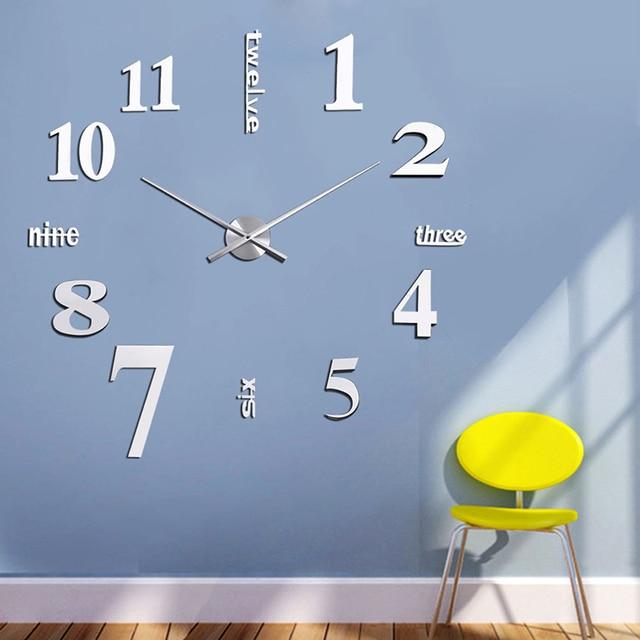 Neue Silber 3D Spiegel Wanduhr Modernes Design Dekorative Spiegel Wanduhren  Stciker Kinder Uhr Wand Wohnzimmer #