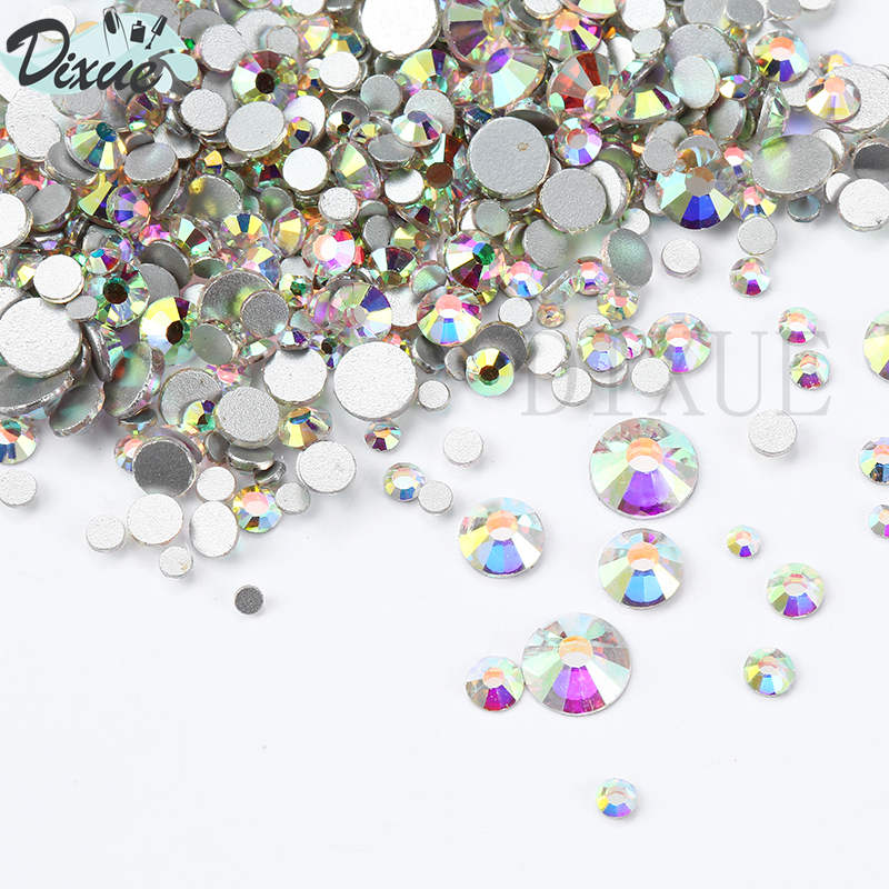 1440pcs Mix 8 Size Glass Crystal AB Rhinestones Flat Back Round Nail Art Stones Non Hotfix Clear Strass Crystals for DIY 035 ss4 1 5 1 6mm lt siam red 1440pcs bag non hotfix flatback rhinestones glass glitter glue on loose diy nail art crystals stones