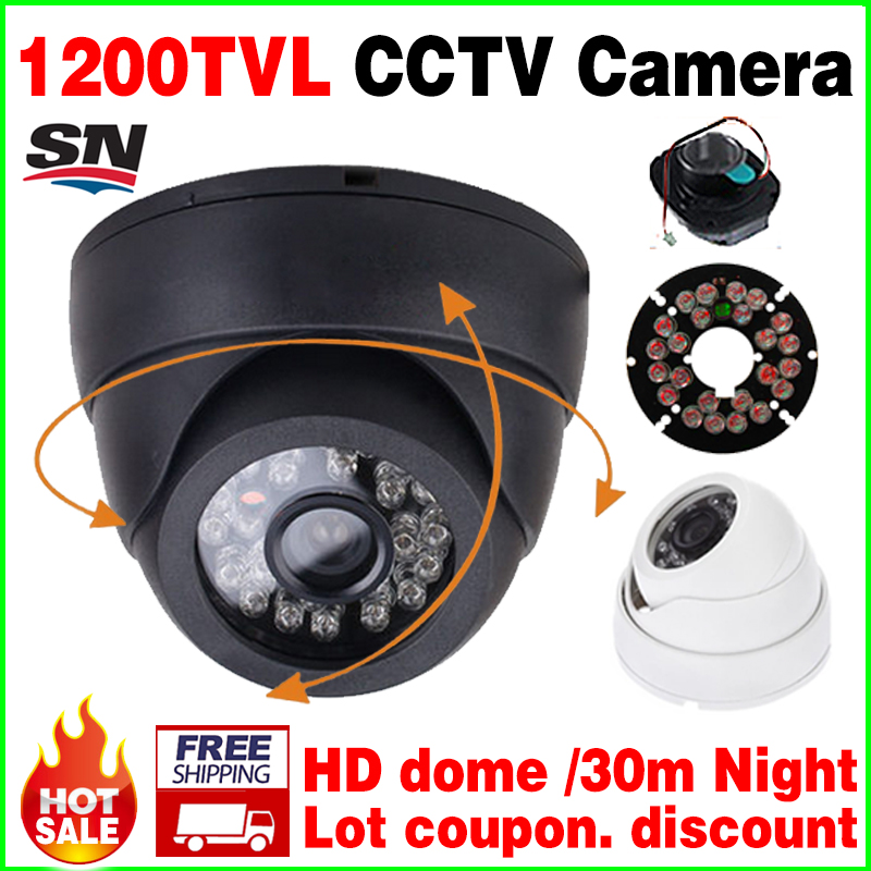 Countdown Sale!1/4CMOS 1200TVL Indoor Dome HD Mini Camera 24led IRCut Security Surveillance Night Vision 30m Home Video vidicon hd security cctv ahdl camera 1 3cmos 800 1200tvl video waterproof ip66 night vision ircut indoor dome surveillance 48led upgrade