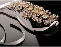 Pearl Crystal Gold Wedding Headband Hair Accessories Bridal Headwear Hair Jewelry Rhinestone Head Chain Headpiece 2014