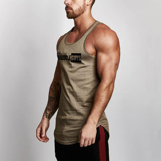 2a7f94fc4c4a5 Body building Brand Tank Top Men Gyms Stringer Tank Top Fitness Singlet  Mesh Sleeveless shirt Work out Man Undershirt Clothing
