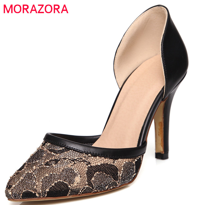 MORAZORA 2018 new women pumps elegant lace shallow fashion summer party wedding shoes pointed toe sexy thin high heel shoes moonmeek new arrive spring summer female pumps high heels pointed toe thin heel shallow party wedding flock pumps women shoes