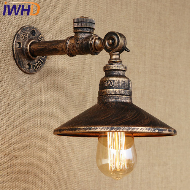 Iwhd Loft Style Iron Water Pipe Lamp Adjust Vintage Wall Light Fixtures Switch Edison