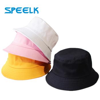 Nowe Unisex bawełniane kapelusze wiadro kobiety lato ochrony przeciwsłonecznej Panama kapelusz mężczyźni Pure Color Sunbonnet Fedoras odkryty kapelusz rybaka czapka plażowa tanie i dobre opinie Speelk COTTON Dla dorosłych DOME Stałe H091 Wiadro kapelusze Na co dzień 54-58 cm 80 g Pure Color Sun Hats Women Men Chlid