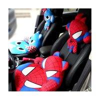 2PCS Auto Car Pillow Linen Cute Cartoon For Captain America Iron X Man Superman Headrest High