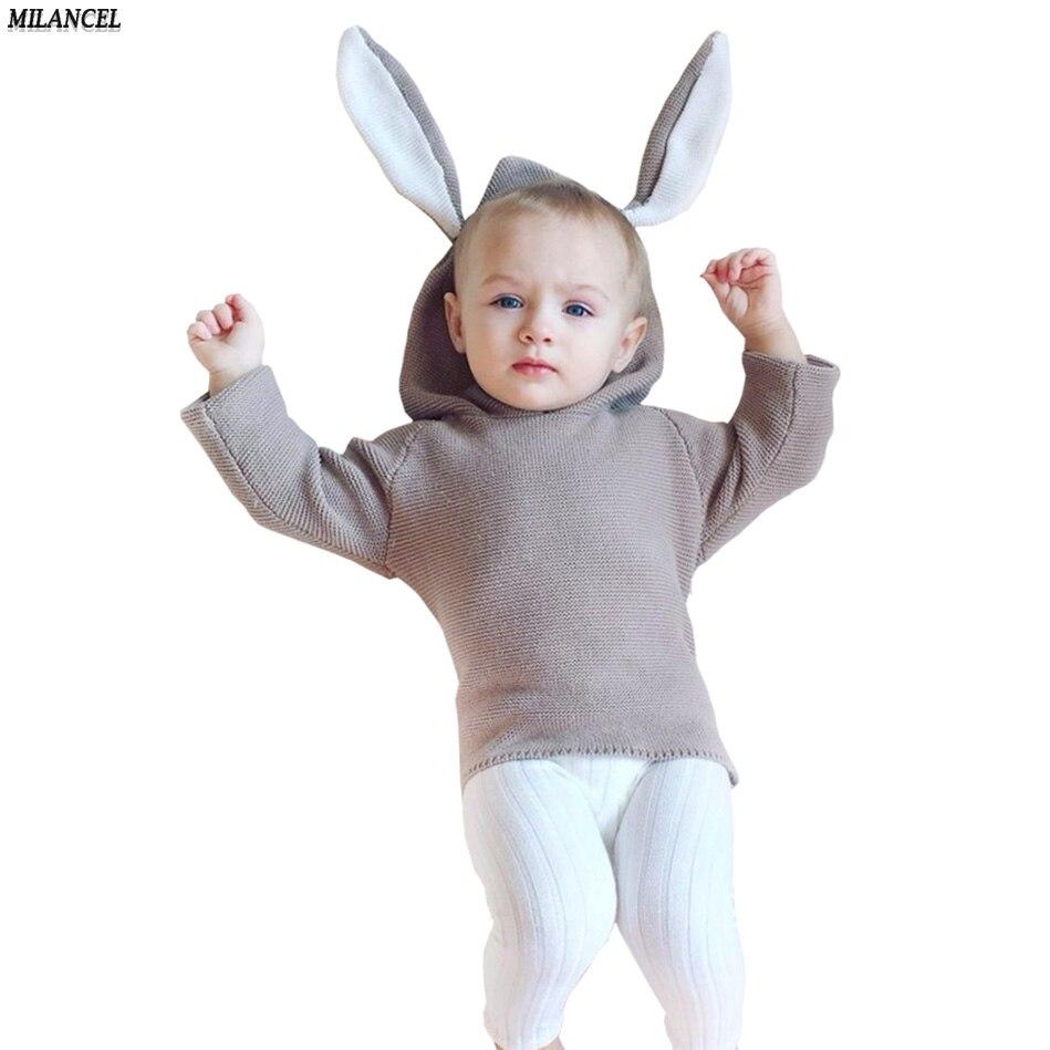 Qış 2018 Oğlanlar Sviter 3D Dovşan Bunny Pullover Uşaq Qızları - Uşaq geyimləri - Fotoqrafiya 2