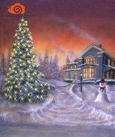 3x6 m 크리스마스 트리 겨울 경치 좋은 모슬린 손으로 그린 사진 스튜디오 배경  newbron 크리스마스 배경 사진