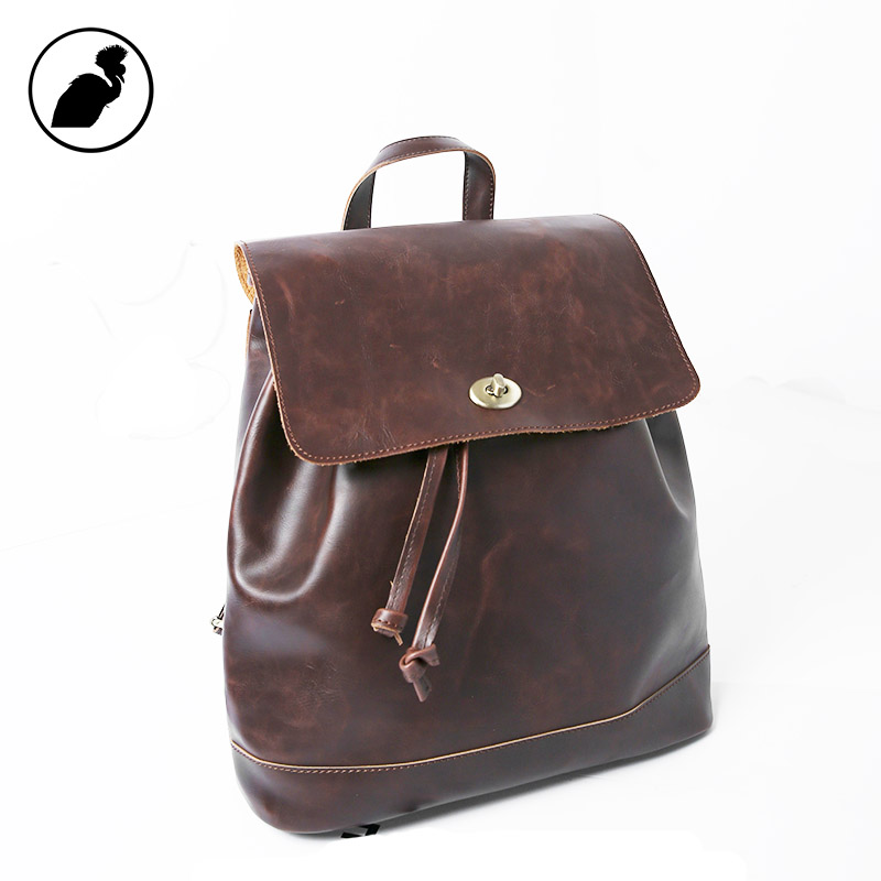 ETONWEAG Brands Cow Leather Backpacks For Teenage Girls Vintage Brown School Bags For Teenagers Small Travel Drawstring Backpack etonweag brands cow leather backpacks for teenage girls vintage brown school bags for teenagers preppy travel small backpack
