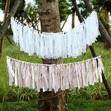 HAOCHU Свадебные винтажные банты деревенские брезентовые флажки белая кружевная ткань флажок-гирлянда кисточкой голубые ленточки вечерние поставки