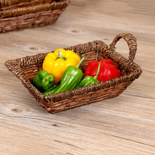 Natural Storage Basket Snack Bread Basket Picnic Basket with Handle Table Eco-friendly Handcraft Food or Sundries Basket C