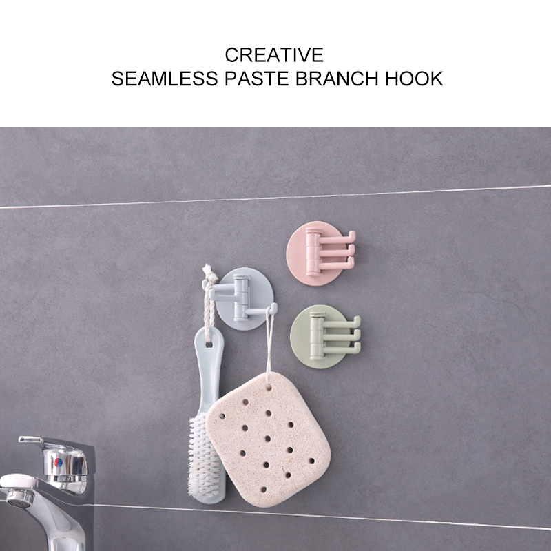 1pc Creative Seamless Paste 3 Branch Rotating Hook Kitchen Bathroom Wall Home  Shower Bathroom Hooks Holder Kitchen Accessories