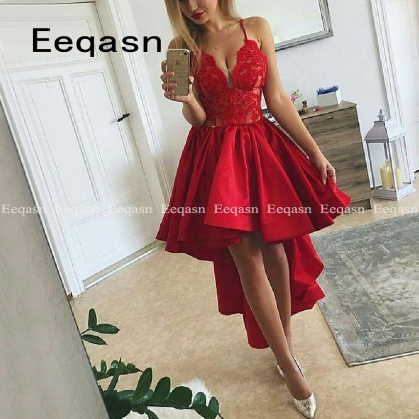 Women Cocktail Party Dress 2019 Elegant A-Line Red Lace Applique Prom Dress Lady Cocktail Dresses Prom Party Short Dress