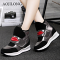 Female Winter Boots 2016 Plush Walking Shoes Zapatos Mujer  Height Lncreasing Ankle Boots Platform Flats Ladies Shoes Size 34-40