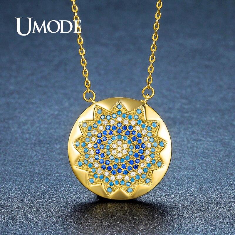 f10f6e86926b UMODE Vintage Charm redondo cristal sol CZ piedra colgante collares para  mujeres oro Color círculo ...