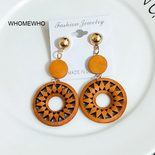 Brown Natural Woold Laser Cut Flower Round Handmade Tribal Earrings Vintage Wooden African Party Club DIY Jewelry