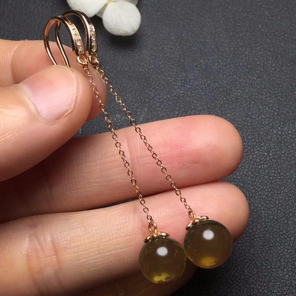 Fine Jewelry Real 18k Rose Gold AU750 100% Nature Blue Amber Gemstone Female Earrings Fine Gift women earring