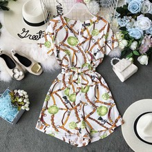 Chic Romper Women Casual Jumpsuit Printed Rompers Summer V-Neck Overalls For Combinaison Femme