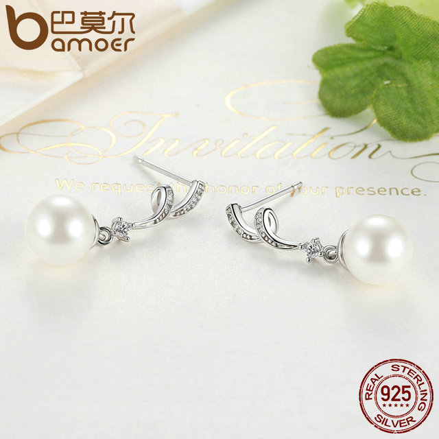 Sterling Silver Simulated Pearl & Wave Drop Earrings
