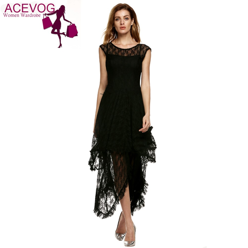 ACEVOG Brand 2017 Womens Casual Sheer Lace Double Layered Hollow Out Evening  Backless Long Dress Beach 6684251b2f62
