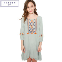 HAYDEN Dresses for Girls Age 11 12 13 10 Years Girl Clothing 2017 Fashion Brand Teenagers Embroidered Boho Dress Frock Designs