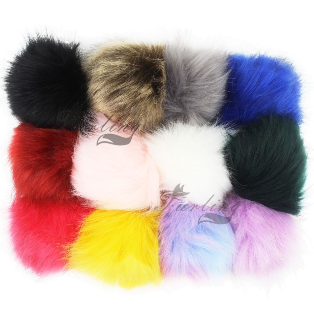 Furling DIY 12 PCS Faux Fox Fur Fur Pom pom Ball 12cm Handbag Car Keychain Accessories without Keychain