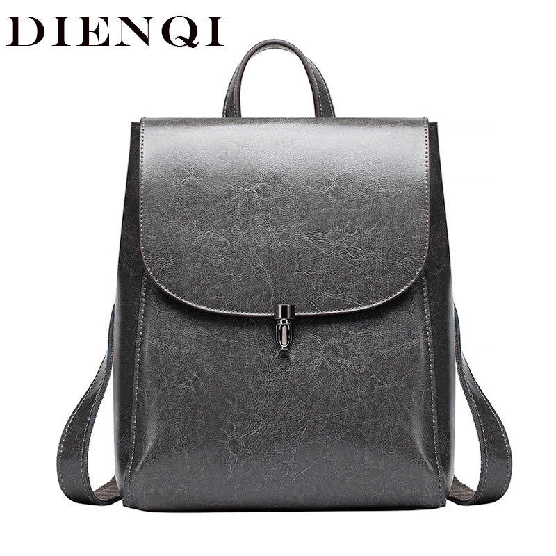 DIENQI High Quality Genuine Leather Youth Backpack Retro Women Back Pack Schoolbag Backpack for teenage girl sac a dos femme fashion solid women backpack high quality leather backpack female daily backpack for teenage girls schoolbag leisure daypack sac