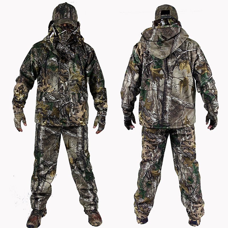 Men's 3D Bionic Camouflage Suits Fleece Thermal Waterproof Ghillie Suit Warm Hunting Jacket & Pants Sets Multi-pocket