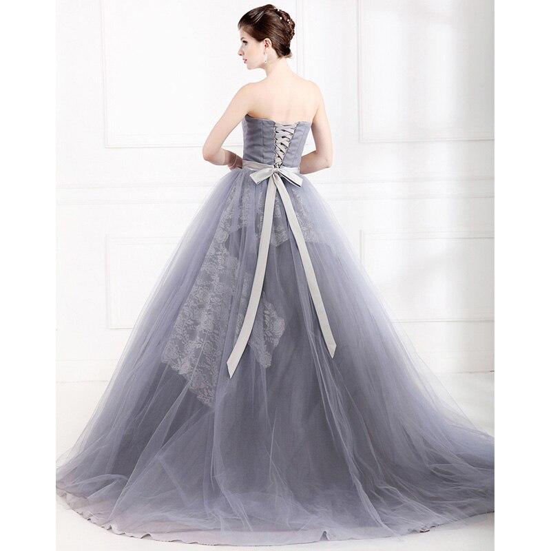 954cb5c2c De alto grado ssyfashion colorido vestido gris sin tirantes appliques del  cordón del a line de noche largo vestidos de fiesta sencilla pasarela  vestido del ...