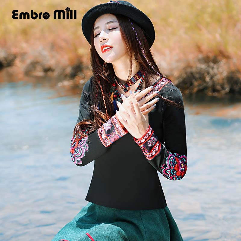 Embro moulin haut de gamme femmes blouse maillot de bain automne style chinois noir slim dame imprimé floral bace petit haut M-XXL