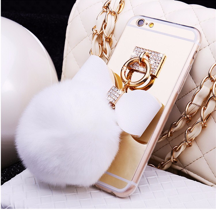 Newest Luxury Rabbit Hair Ball <font><b>Ring</b></font> <font><b>Phone</b></font> Cases Covers For Apple iphone 7 4.7 inch <font><b>Mirror</b></font> Fundas Capa Drop Shipping