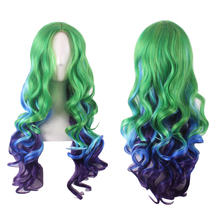 цена на Fashion Long Wavy Green Blue Ombre Harajuku Lolita Wig Cosplay Costume Synthetic Hair Middle Part Full Wigs For Women