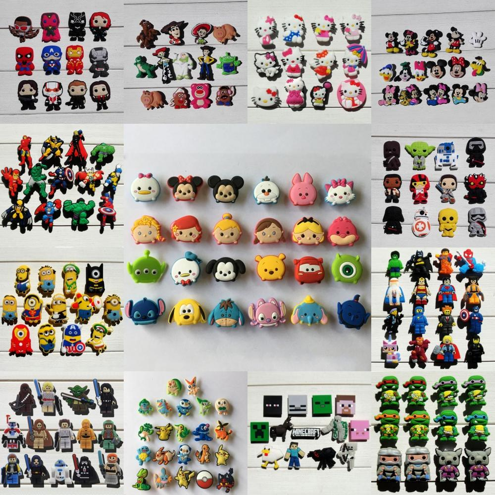 12-24pcs/Set Mickey Avengers Pets Sesame Street Pvc Shoe Charms Shoe Accessories Shoe Decoration For Kids Croc Charms Jibz Gift