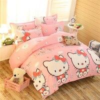 Boy Girl Pink Cute Animal Kitty Cat Dog 3/4 pcs Bedding Set 1.5m 1.8m 2m Bed Sheet Linens King Queen Double Duvet Cover Bedlinen