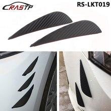 RASTP-4Pcs Car Styling Carbon Fiber wind knife Universal Bumper Strip Spolier Decoration Sticker Canards Exterior Body RS-LKT019