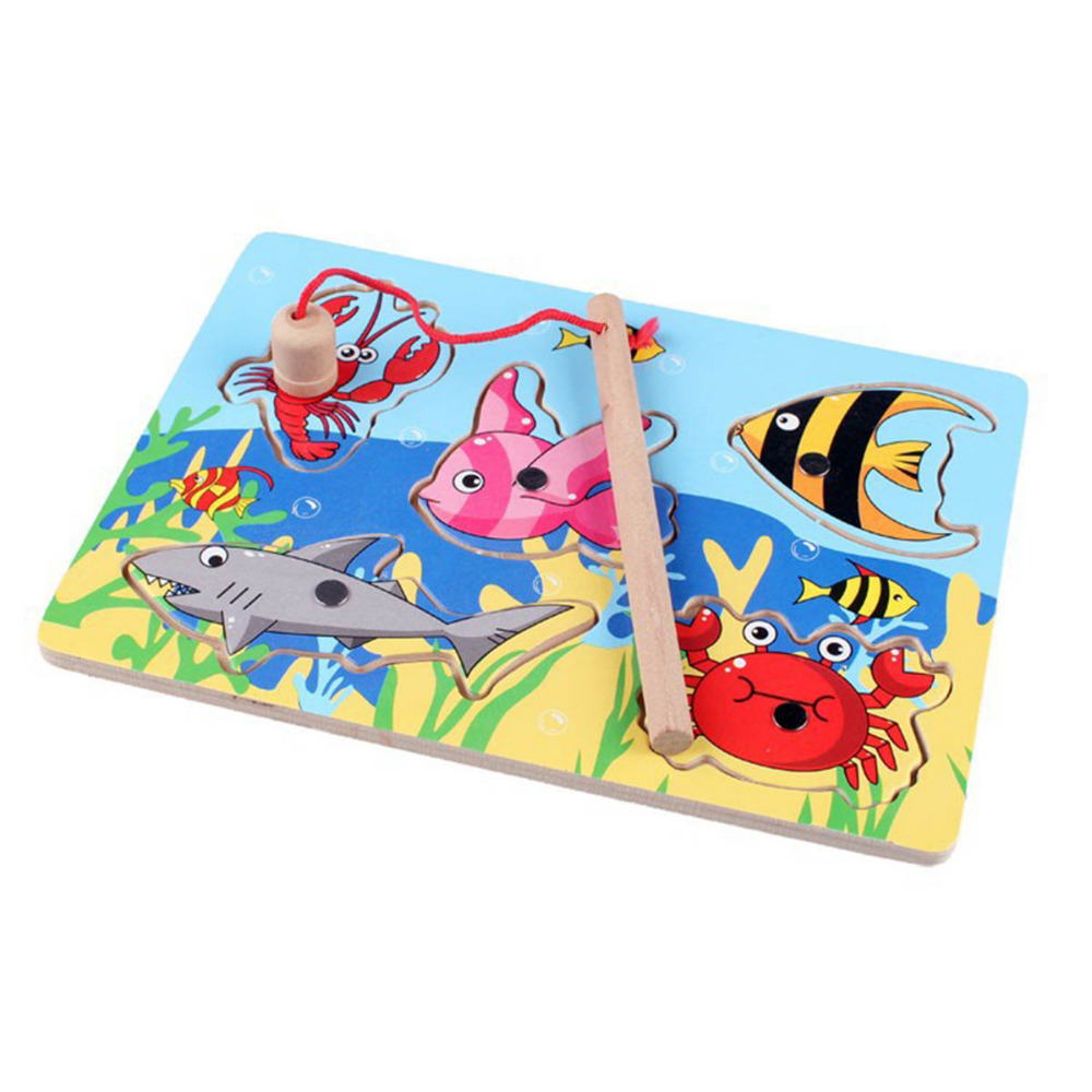 Holz Magnetischen Bord Von Fischerei Spiel Blöcke Jigsaw Puzzle Infant Kinder Stange Spielzeug Baby Bord 3d Frühen Bildung Spaß Kid üPpiges Design