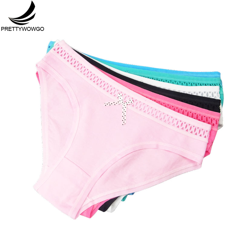 Prettywowgo 6 pcs/lot 2020 Hot Sale High Quality Hollow Out Cotton Panties For Ladies Sexy Women's Briefs 6788