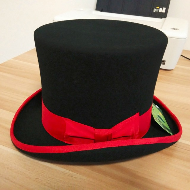 2f740605510e92 Black Top Hats for men and women Pure Australian Wool Felt Fedora hat with  red bow and brim 18cm high S/M/L/XL