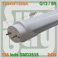 4 pçs/lote T8 CONDUZIU o tubo 1500mm 150 cm 5ft 1.5 M 24 W G13 SMD2835 chip de alta lumens leitoso e tampa transparente disponível