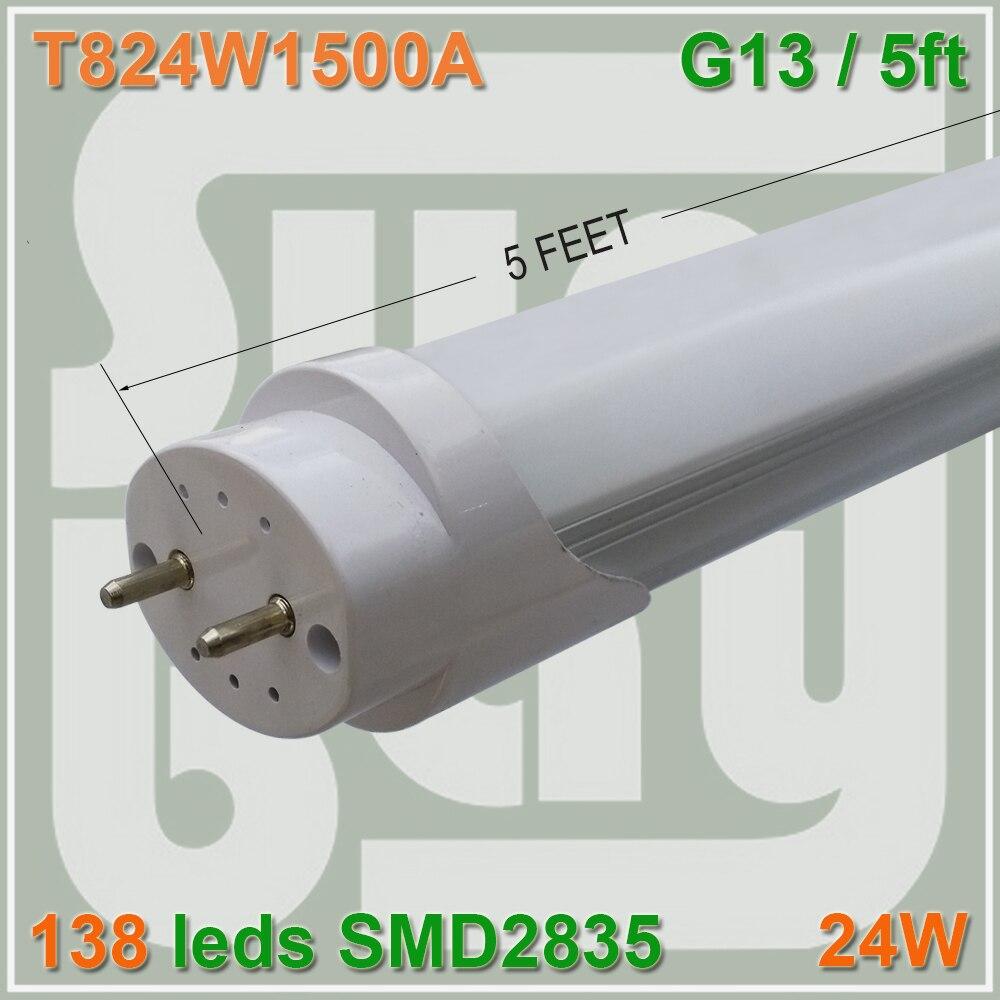 4pcs lot T8 led tube 1500mm 150cm 5ft 1 5M 24W G13 SMD2835 chip high lumens