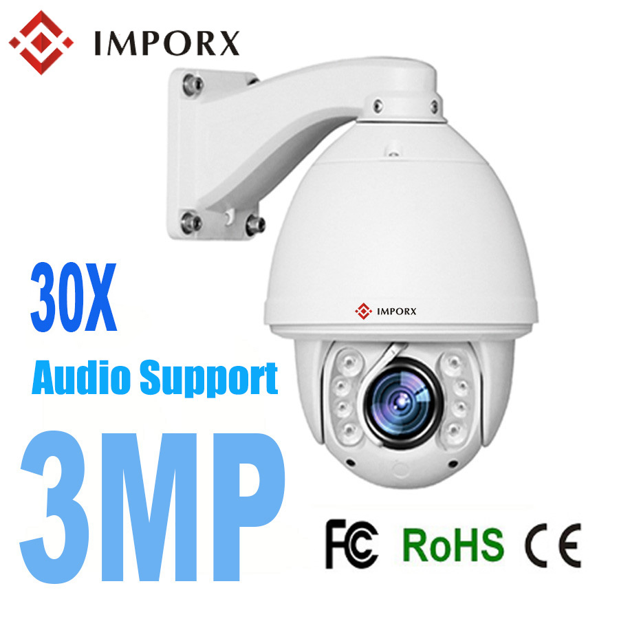 2018 3MP Audio PTZ Camera Auto tracking IP Camera 30X zoom high speed dome PTZ Camera Wireless Wifi Alarm audio Support