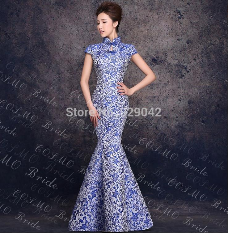 New Style Long Cheongsam Vintage Blue Mermaid Wedding Dresses China Tradition Flower Porcelain Y Qipao Gown Evening Dress In Cheongsams From Novelty