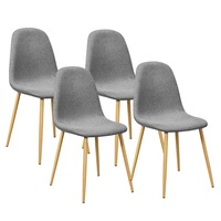 Set of 4 Modern Nordic Gray Soft Non woven Accent Dining Chairs Kitchen Room Furniture Home Decoration HW60904