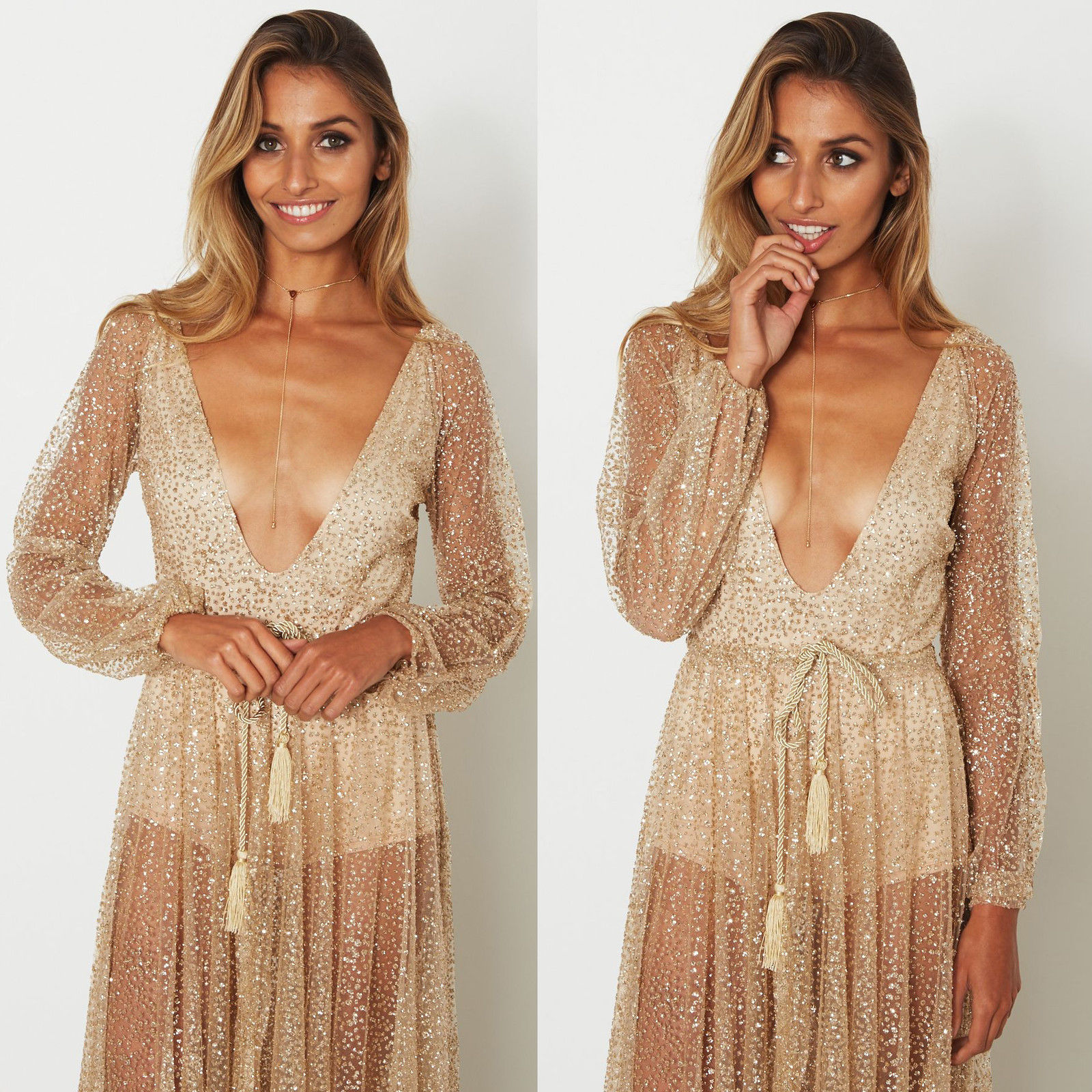 Long Sleeve Gold Sequin Dress Women Sparkly Glitter Party Maxi Dresses Sexy  Plunge Deep V Neck Backless Beach Dress a84c8f511
